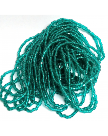 geregen kraal 3-cut transparant blauw groen 9/0