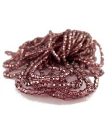 Strung bead amethystkleur silver line