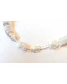 Strung sequins cup white transparent pearl shine 4 mm