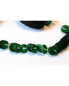Strung sequins flat green metallic 5mm