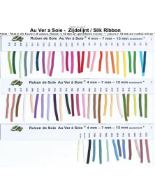 single colour silk ribbon, Au ver a Soie 7 mm wide, per 3 meter