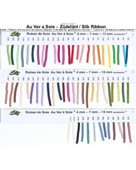 Unikleur zijden lint Au ver a Soie 7 mm breed per 3 meter