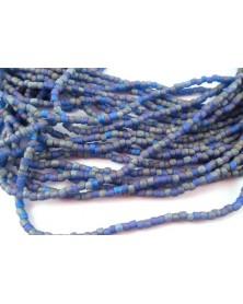 Strung bead 3-cut blue aurora matte 12/0