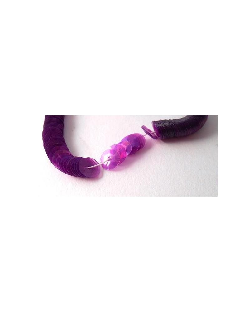 Geregen Paillette cup paars transparant parelmoer 6 mm
